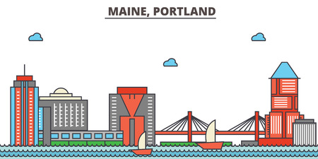 Maine, Portland.City skyline: architecture, buildings, streets, silhouette, landscape, panorama, landmarks. Editable strokes. Flat design line vector illustration concept. Isolated icons