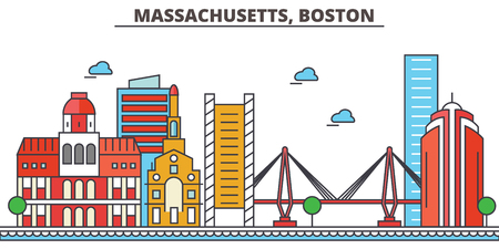 Massachusetts, Boston.City skyline: architecture, buildings, streets, silhouette, landscape, panorama, landmarks. Editable strokes. Flat design line vector illustration concept. Isolated icons