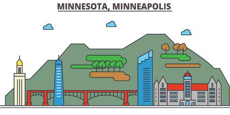 Minnesota, Minneapolis.City skyline: architecture, buildings, streets, silhouette, landscape, panorama, landmarks. Editable strokes. Flat design line vector illustration concept. Isolated icons