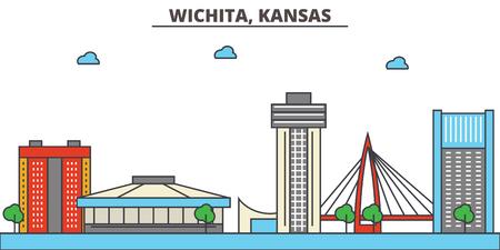 Kansas, Wichita.City skyline: architecture, buildings, streets, silhouette, landscape, panorama, landmarks. Editable strokes. Flat design line vector illustration concept. Isolated icons 일러스트