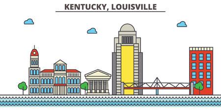 Kentucky, Louisville.City skyline: architecture, buildings, streets, silhouette, landscape, panorama, landmarks. Editable strokes. Flat design line vector illustration concept. Isolated icons Illustration