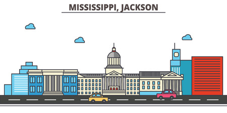 Mississippi, Jackson.City skyline: architecture, buildings, streets, silhouette, landscape, panorama, landmarks. Editable strokes. Flat design line vector illustration concept. Isolated icons