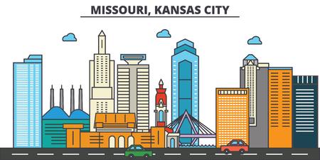 Missouri, Kansas City.City skyline: architecture, buildings, streets, silhouette, landscape, panorama, landmarks. Editable strokes. Flat design line vector illustration concept. Isolated icons Stock Vector - 85407466