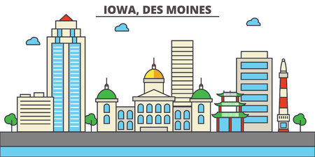 Iowa, Des Moines.City skyline: architecture, buildings, streets, silhouette, landscape, panorama, landmarks. Editable strokes. Flat design line illustration concept. Isolated icons