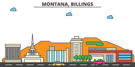 モンタナ、ビリングス。都市のスカイライン: 建築、建物、通り、シルエット、風景、パノラマ、ランドマーク。編集可能なストローク。フラットデ