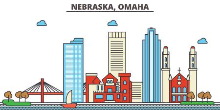 Omaha.City スカイライン (ネブラスカ州): 建築、建物、通り、シルエット、風景、パノラマ、ランドマーク。編集可能なストローク。フラットなデザイ