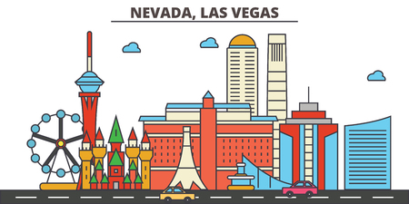 Nevada, Las Vegas.City skyline: architecture, buildings, streets, silhouette, landscape, panorama, landmarks. Editable strokes. Flat design line vector illustration concept. Isolated icons Illustration