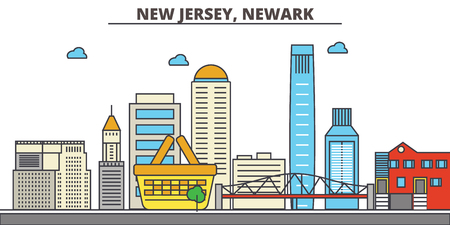 New Jersey, Newark.City skyline: architecture, buildings, streets, silhouette, landscape, panorama, landmarks. Editable strokes. Flat design line vector illustration concept. Isolated icons Illusztráció