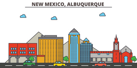 New Mexico, Albuquerque.City skyline: architecture, buildings, streets, silhouette, landscape, panorama, landmarks. Editable strokes. Flat design line vector illustration concept. Isolated icons Illustration