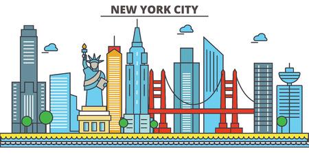 New York, New York City. Skyline de la ville: architecture, bâtiments, rues, silhouette, paysage, panorama, monuments. Traits modifiables. Concept d'illustration vectorielle ligne design plat. Icônes isolées