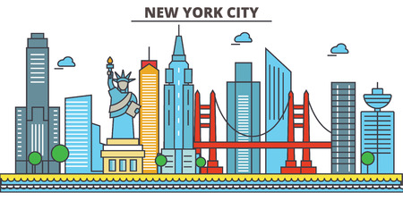 New York, New York City.City skyline: architecture, buildings, streets, silhouette, landscape, panorama, landmarks. Editable strokes. Flat design line vector illustration concept. Isolated icons