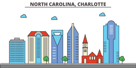 North Carolina, Charlotte.City skyline: architecture, buildings, streets, silhouette, landscape, panorama, landmarks. Editable strokes. Flat design line vector illustration concept. Isolated icons Illustration