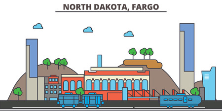 North Dakota, Fargo.City skyline: architecture, buildings, streets, silhouette, landscape, panorama, landmarks. Editable strokes. Flat design line vector illustration concept. Isolated icons
