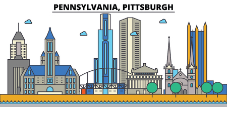 Pennsylvania, Pittsburgh.City skyline: architecture, buildings, streets, silhouette, landscape, panorama, landmarks. Editable strokes. Flat design line vector illustration concept. Isolated icons