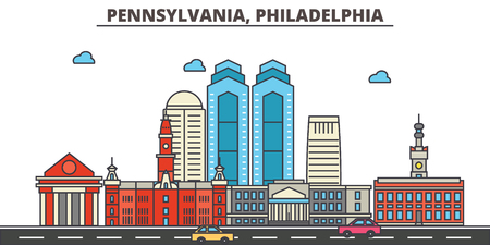 Pennsylvania, Philadelphia.City skyline: architecture, buildings, streets, silhouette, landscape, panorama, landmarks. Editable strokes. Flat design line vector illustration concept. Isolated icons 写真素材 - 104080787