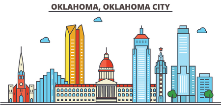 Oklahoma, Oklahoma City.City skyline: architecture, buildings, streets, silhouette, landscape, panorama, landmarks. Editable strokes. Flat design line vector illustration concept. Isolated icons Illusztráció