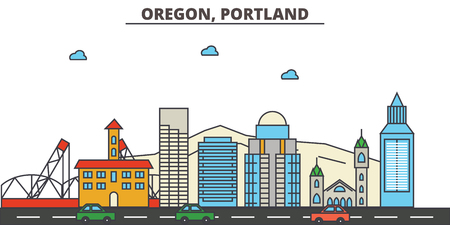 Oregon, Portland.City skyline: architecture, buildings, streets, silhouette, landscape, panorama, landmarks. Editable strokes. Flat design line vector illustration concept. Isolated icons 写真素材 - 104080792