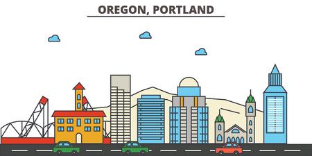Oregon, Portland.City skyline: architecture, buildings, streets, silhouette, landscape, panorama, landmarks. Editable strokes. Flat design line vector illustration concept. Isolated icons Illustration