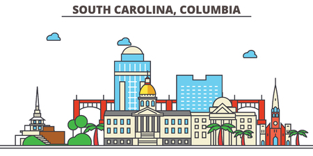 South Carolina, Columbia.City skyline: architecture, buildings, streets, silhouette, landscape, panorama, landmarks. Editable strokes. Flat design line vector illustration concept. Isolated icons Vettoriali