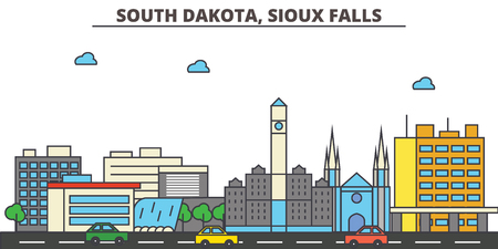사우스 다코타, 수 폴스 도시 스카이 라인 : 건축, 건물, 거리, 실루엣, 풍경, 파노라마, 랜드 마크. 편집 가능한 획. 평면 디자인 라인 벡터 일러스트 레이 션 개념입니다. 격리 된 아이콘