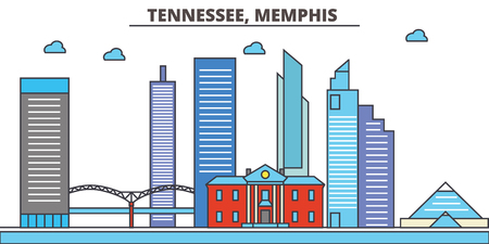 Tennessee, Memphis.City skyline: architecture, buildings, streets, silhouette, landscape, panorama, landmarks. Editable strokes. Flat design line vector illustration concept. Isolated icons