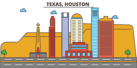 Texas, Houston.City skyline: architecture, buildings, streets, silhouette, landscape, panorama, landmarks. Editable strokes. Flat design line vector illustration concept. Isolated icons Ilustração