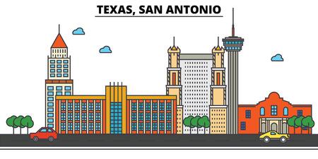 Texas, San Antonio.City skyline: architecture, buildings, streets, silhouette, landscape, panorama, landmarks. Editable strokes. Flat design line vector illustration concept. Isolated icons