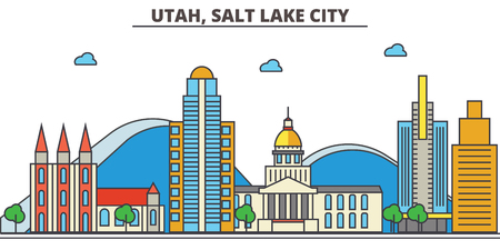 Utah, Salt Lake City.City skyline: architecture, buildings, streets, silhouette, landscape, panorama, landmarks. Editable strokes. Flat design line vector illustration concept. Isolated icons  イラスト・ベクター素材