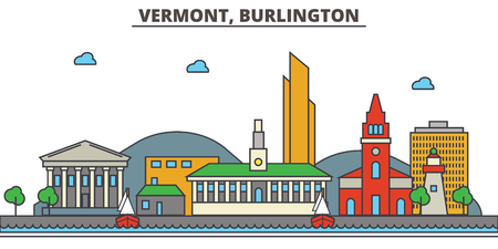Vermont, Burlington.City skyline: architecture, buildings, streets, silhouette, landscape, panorama, landmarks. Editable strokes. Flat design line vector illustration concept. Isolated icons