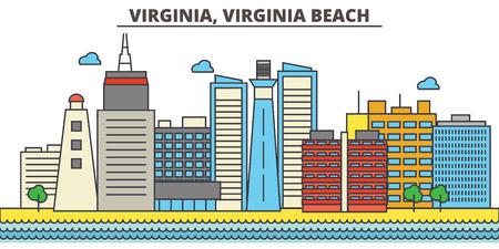 Virginia, Virginia Beach.City skyline: architecture, buildings, streets, silhouette, landscape, panorama, landmarks. Editable strokes. Flat design line vector illustration concept. Isolated icons Illustration