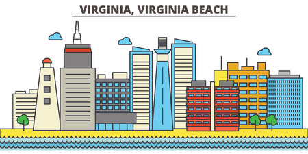 Virginia, Virginia Beach.City skyline: architecture, buildings, streets, silhouette, landscape, panorama, landmarks. Editable strokes. Flat design line vector illustration concept. Isolated icons Ilustrace