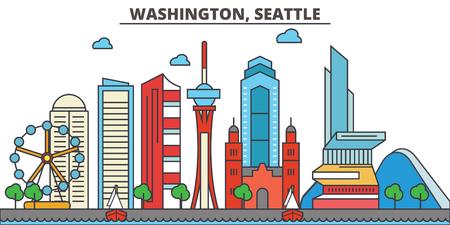 Washington, Seattle.City skyline: architecture, buildings, streets, silhouette, landscape, panorama, landmarks. Editable strokes. Flat design line vector illustration concept. Isolated icons Illustration