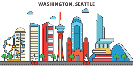 Washington, Seattle.City skyline: architecture, buildings, streets, silhouette, landscape, panorama, landmarks. Editable strokes. Flat design line vector illustration concept. Isolated icons 向量圖像