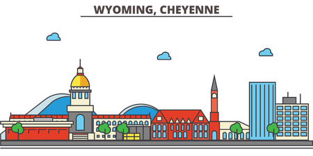 Wyoming, Cheyenne.City skyline: architecture, buildings, streets, silhouette, landscape, panorama, landmarks. Editable strokes. Flat design line vector illustration concept. Isolated icons 向量圖像