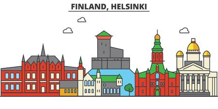 Finlandia, Helsinki. Skyline della città: architettura, edifici, strade, silhouette, paesaggio, panorama, punti di riferimento in colpi modificabili, concetto di illustrazione linea design piatto.