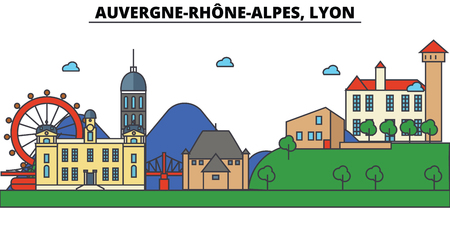 France, Lyon, Auvergne Rhone Alpes . City skyline: architecture, buildings, streets, silhouette, landscape, panorama, landmarks in Editable strokes, Flat design line illustration concept. 일러스트