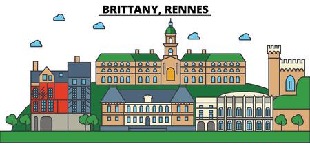フランス、ブルターニュ、レンヌ。都市のスカイライン: 建築、建物、通り、シルエット、風景、パノラマ、編集可能なストロークでランドマーク、