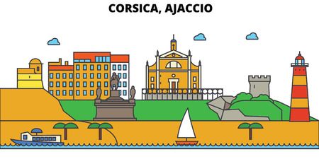 France, Ajaccio, Corsica. City skyline: architecture, buildings, streets, silhouette, landscape, panorama, landmarks. Editable strokes. Flat design line vector illustration concept. Isolated icons