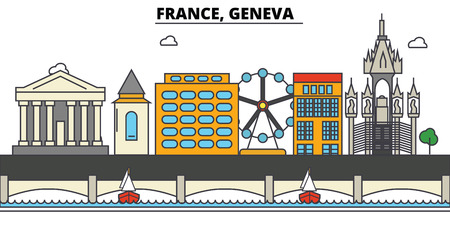 France, Geneva. City skyline: architecture, buildings, streets, silhouette, landscape, panorama, landmarks in Editable strokes, Flat design line illustration concept. Stock Vector - 85536660