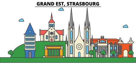 France, Strasbourg, Grand Est. City skyline: architecture, buildings, streets, silhouette, landscape, panorama, landmarks in Editable strokes, Flat design line illustration concept. Illustration
