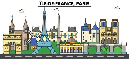 France, Paris, Ile De France . City skyline: architecture, buildings, streets, silhouette, landscape, panorama, landmarks in Editable strokes, Flat design line illustration concept. Stock Vector - 85536661