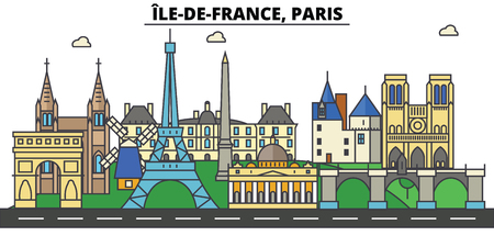 France, Paris, Ile De France . City skyline: architecture, buildings, streets, silhouette, landscape, panorama, landmarks in Editable strokes, Flat design line illustration concept.