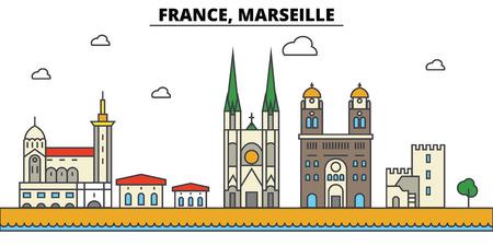 France, Marseille. City skyline: architecture, buildings, streets, silhouette, landscape, panorama, landmarks in Editable strokes, Flat design line illustration concept. Vector Illustration