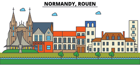 France, Rouen, Normandy. City skyline: architecture, buildings, streets, silhouette, landscape, panorama, landmarks in Editable strokes, Flat design line illustration concept.