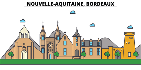 France, Bordeaux, Nouvelle Aquitaine . City skyline: architecture, buildings, streets, silhouette, landscape, panorama, landmarks. Editable strokes. Flat design line vector illustration Illustration