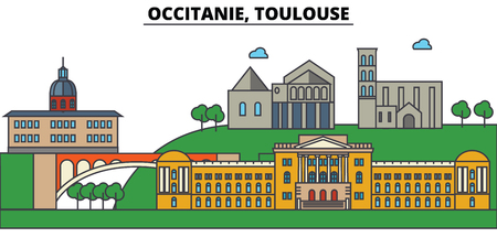 France, Toulouse, Occitanie. City skyline: architecture, buildings, streets, silhouette, landscape, panorama, landmarks in Editable strokes, Flat design line illustration concept.