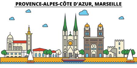 France, Marseille, Provence Alpes Cote D Azur. Skyline de la ville: architecture, bâtiments, rues, silhouette, paysage, panorama, monuments dans les accidents modifiables, concept d'illustration ligne design plat. Banque d'images - 85536669