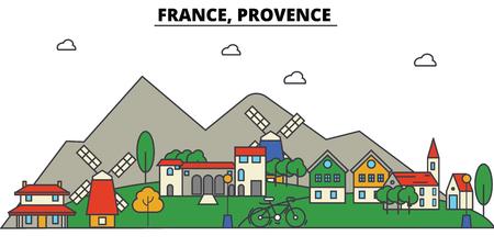 France, Provence. Toits de la ville: architecture, bâtiments, rues, silhouette, paysage, panorama, points de repère dans les traits modifiables, concept illustration ligne plate. Banque d'images - 85536671