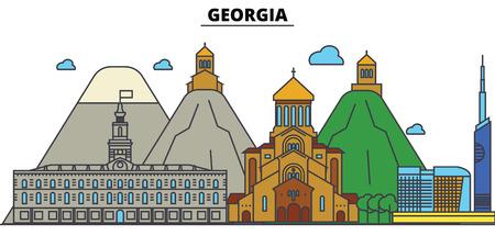 ジョージア州トビリシ都市のスカイライン: 建築、建物、通り、シルエット、風景、パノラマ、編集可能なストロークでランドマーク、フラットデザ