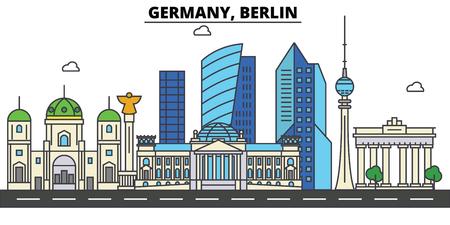 독일, 베를린. 도시 스카이 라인 : 아키텍처, 건물, 거리, 실루엣, 프리, 파노라마, 획기적인 획, 평면 디자인 라인 그림 개념에서에서 획기적인.